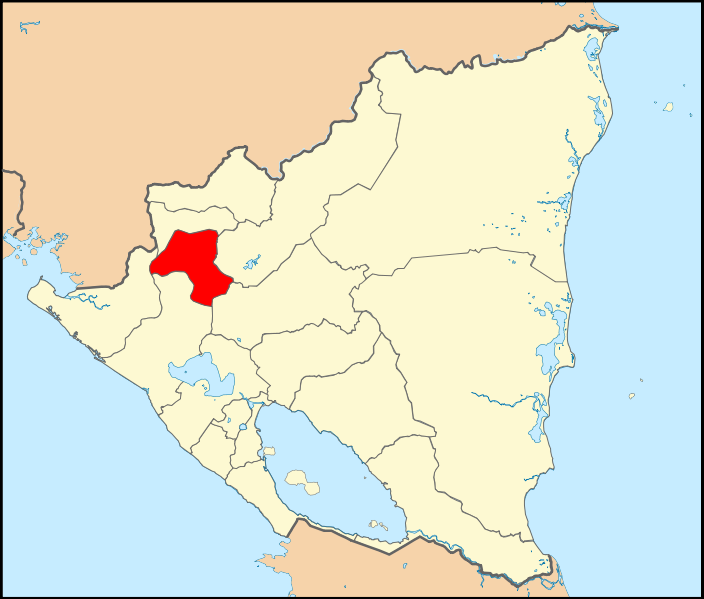 Map showing location of Nicaragua in Central America